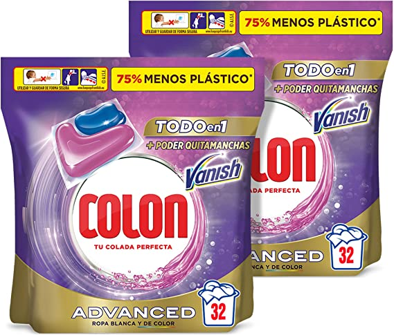 Colon Vanish Advanced Detergente para lavadora con quitamanchas, adecuado para ropa blanca y de color, Formato cápsulas - Pack de 2, total 64 dosis
