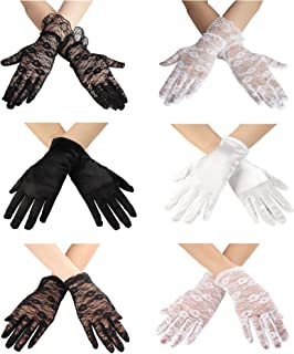 4-6 Pairs Lady Women's Short Wrist Floral Lace Satin Long Fingerless Gloves for Bridal Summer UV Wedding Party Prom