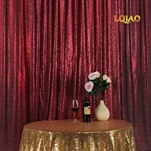 LQIAO Burgundy Sequin Backdrop Background 8FTx8FT, Elegant Matte Sequin Curtain Backdrop Photo Booth Wedding Props Glitter Party Background Decorations, Pocket 8x8FT(240x245cm)