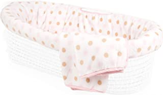 Tadpoles Polka Dot Plush Fleece Moses Basket Bedding Only, Pink