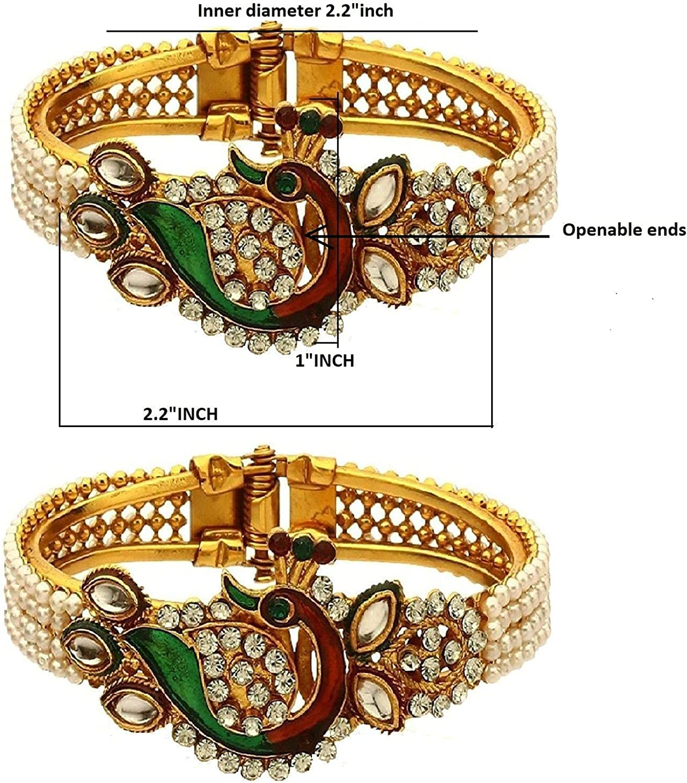 Efulgenz Fashion Jewelry Indian Bollywood Faux Pearl Kundan Rhinestone Peacock Bracelet Bangle (2 Pc)