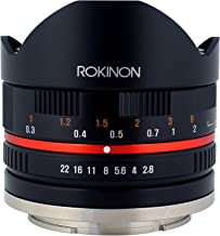 Rokinon 8mm F2.8 UMC Fisheye II (Black) Lens for Fuji X Mount Digital Cameras (RK8MBK28-FX)