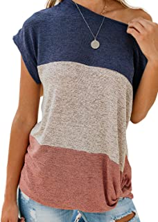Asvivid Womens Summer Off The Shoulder Twist Knot Tops Color Block Short Sleeve Loose T-Shirt Blouse