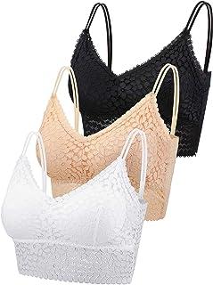 3 Pieces Lace Bra Camisole Bralette Lace Bandeau Bra Lace Top for Women Girls Sports Daily Favor