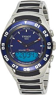ساعة سايلينغ تاتش بمينا ابيض اللون وسوار من المطاط للرجال من تيسوت - T056.420.17.4242.94