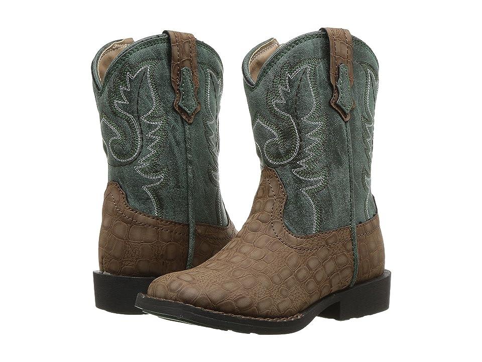 Roper Kids Gator (Toddler) (Brown Faux Caiman Vamp/Green Shaft) Cowboy Boots
