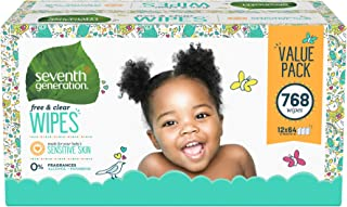 Seventh Generation Baby Wipes, Free & Clear with Flip Top Dispenser, 768 count