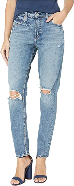 Frisco Tapered High-Rise Distressed Jeans in Indigo