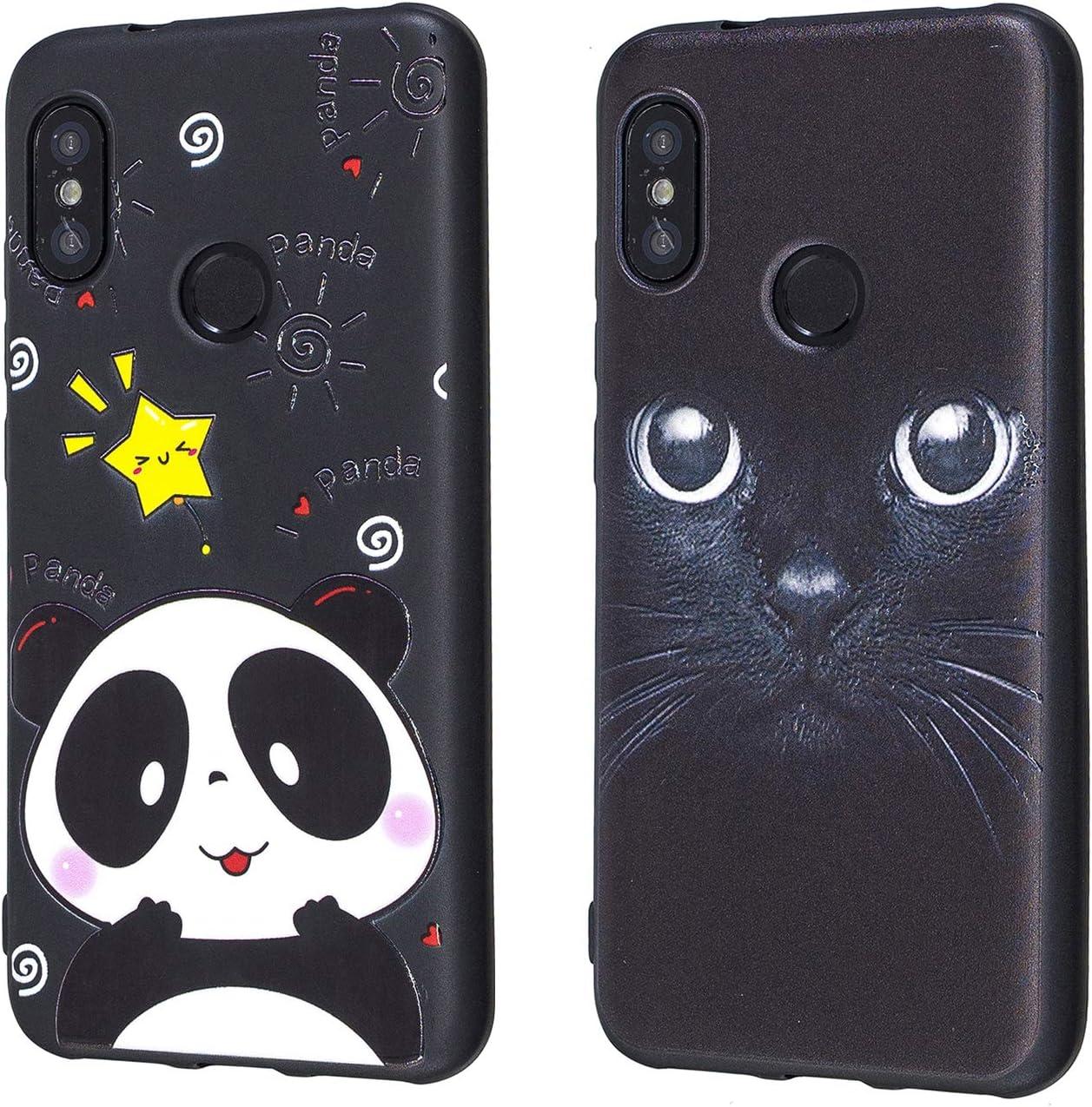 Funluna 2X Funda Xiaomi Mi A2 Lite, Slim Cubierta de Silicona Negra TPU Shock-Absorción Carcasa Gel Bumper Rubber Case Trasero Cover para Xiaomi Mi A2 Lite, Panda&Gato Negro