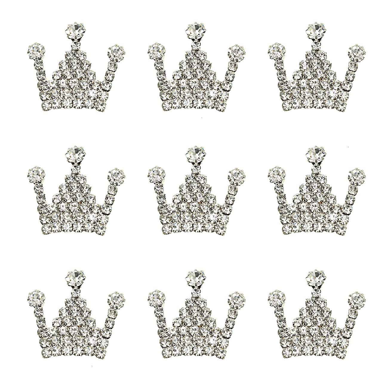 Monrocco 10pcs Crystal Rhinestone Crown Charms Alloy Flat Back Embellishment for DIY Crafting