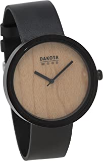 Dakota Quartz Wood and Leather Watch, Color:Black (Model: 26351)