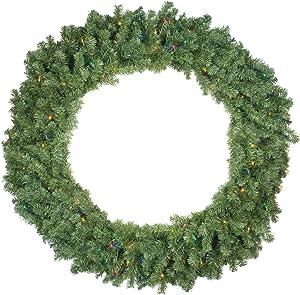 Pre-Lit Canadian Pine Artificial Christmas Wreath - 4-Foot, Multi Lights