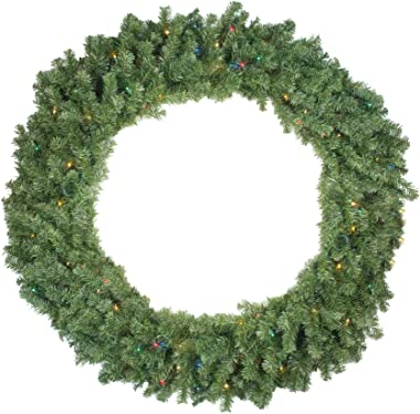 Northlight Pre-Lit Canadian Pine Artificial Christmas Wreath - 48-Inch, Multicolor Lights