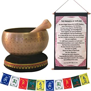 "Tibetan Singing Bowl for Meditation, Healing & Yoga 4""/5""/6"" Set with Mallet & Velvet Cushion, with Free Gift of Tibetan Prayer Flags & The Dalai Lama Quote Wall Art for Peace, Harmony, Stress Relief"