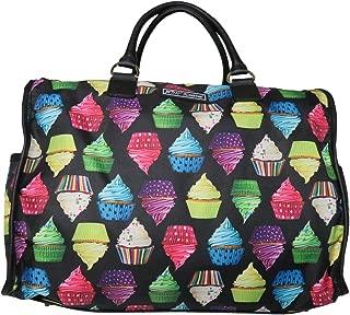 Betsey Johnson Large Nylon Weekender Duffel Bag, Black/Cupcakes