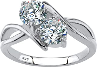 Sterling Silver Round Cubic Zirconia 2 Stone Bypass Ring