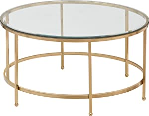 "Rivet Modern Round Glass and Gold Coffee Table, 36""W, Gold Finish"
