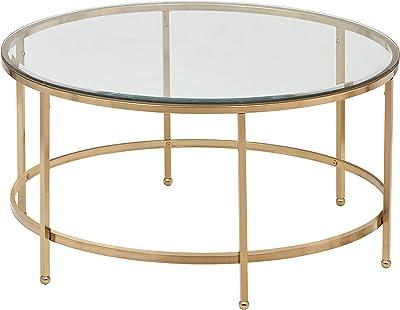 Glass and Gold 31.5W AMZ-B3-16C Ravenna Home Parker Circle Shelf Storage Coffee Table 31.5W