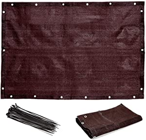 Farmlyn Creek Privacy Screen and Plastic Zip Ties for Patio Balcony (3x4 Feet, Brown, 2 Pack)