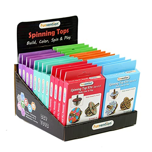 Funvention- for Little Scientist in Every Kid Spin Top Kits Flat Sets with Standee - Pack of 24