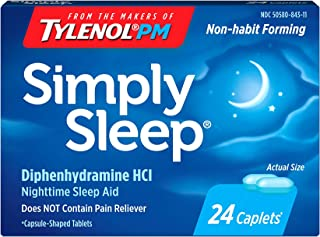 Simply Sleep Nighttime Sleep Aid Caplets with 25 mg Diphenhydramine HCl, Non-Habit Forming, 24 ct