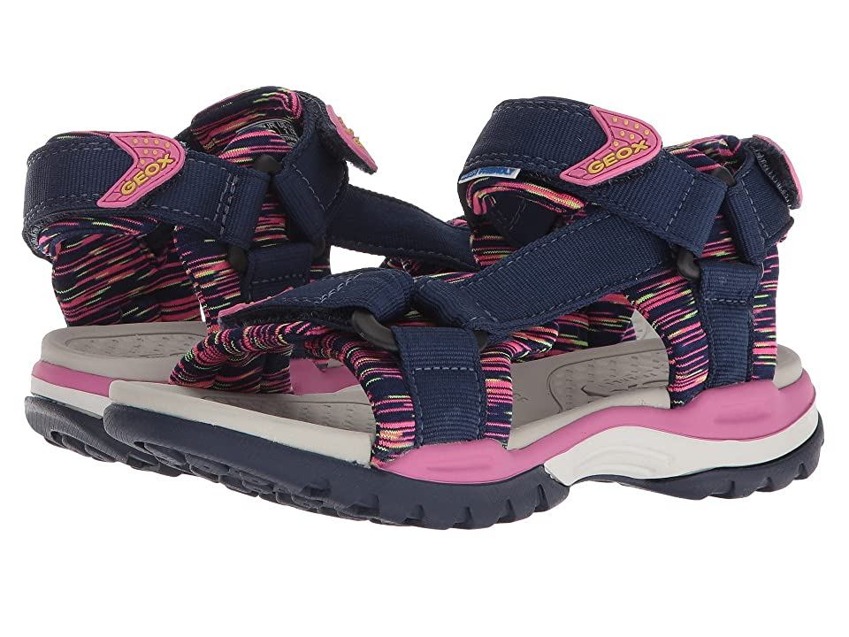 Geox Kids Borealis 7 (Little Kid/Big Kid) (Navy/Fuchsia) Girl
