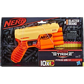 NERF Alpha Strike Fang Qs-4 Blaster, 4-Dart Blasting, Fire 4 Darts in A Row, 10 Darts