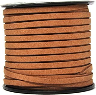 Mandala Crafts 50 Yards 5mm Wide Jewelry Making Flat Micro Fiber Lace Faux Suede Leather Cord (5mm, Brown)