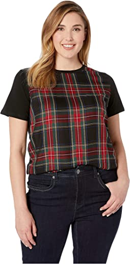 Plus Size Plaid-Panel T-Shirt