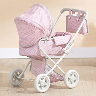 "Olivia's Little World Deluxe Doll Pram | 16"" Baby Doll Stroller with Carriage Bag, Pink/Grey"