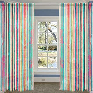 COOSUN Colored Lines Pattern with Blots Effect Sheer Curtain Panels Tulle Polyester Voile Window Treatment Panel Curtains ...