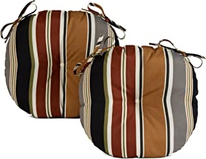 Greendale Home Fashions Set of 2 Outdoor 15-inch Bistro Seat Cushion, Set of 2, Espresso Stripe