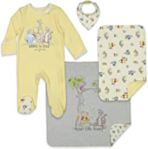 Disney Winnie The Pooh 4 Piece Coverall Bib Burp Cloth Blanket Set