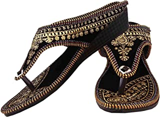 Beauty Craft Rajasthani/Jaipuri Ethnic Zari Embroidery Work Chappal Sandal