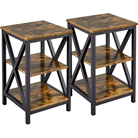 YAHEETECH Set of 2 End Table, 3-Tier Side Sofa Tables with Storage Shelf - X Design Metal Frame Accent Furniture for Living Room - Easy Assembly - Rustic Brown
