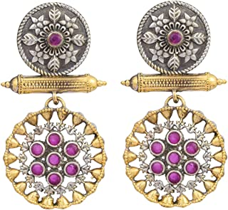 Aheli Indian Traditional Ethnic Design Oxidized Dangle Drop Earrings for Women Old Fashioned Vintage Jewelry