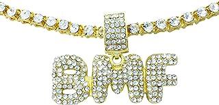 Exo Jewel アイスアウト ゴールド BMF バブルワードペンダント 24インチ キュービックジルコニア ダイヤモンドチェーン
