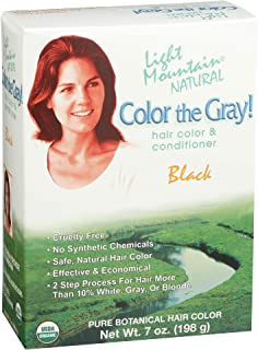 Light Mountain Natural Color The Gray! Hair Color & Conditioner,  Black,  7 oz (197 g) (Pack of 2)