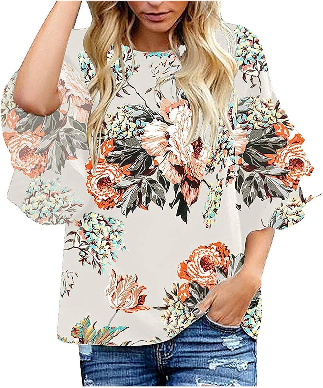 Women's Hawaii Shirts Summer Floral Tunic Tops Casual 3/4 Ruffle Bell Sleeve Creweck Bohemian Beach Holiday Blouse Shirt