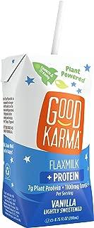 Good Karma Plant-Powered Flaxmilk, Vanilla Lightly Sweetened, 6.75 oz Lunchbox Carton (Pack of 12) Dairy-Free, Plant Based Milk Alternative