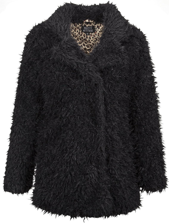 Glam and Gloria Womens Black Plush Faux Fur Shaggy Winter Jacket