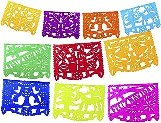 Fiesta Brands 2 Pack Mexican Papel Picado Feliz Navidad Xmas Banner - Colorful Tissue Paper 9