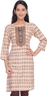 Women's Handloom Tussar Cotton-Silk Hand Block Printed Kurti