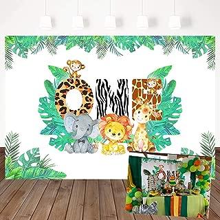 Mehofoto Jungle Theme Background 1st Birthday Backdrop Safari Animals Zoo Background for Boy 7x5ft Lion Giraffe Elephant Monkey, Animals Boy Baby First Birthday Party Banner Decorations