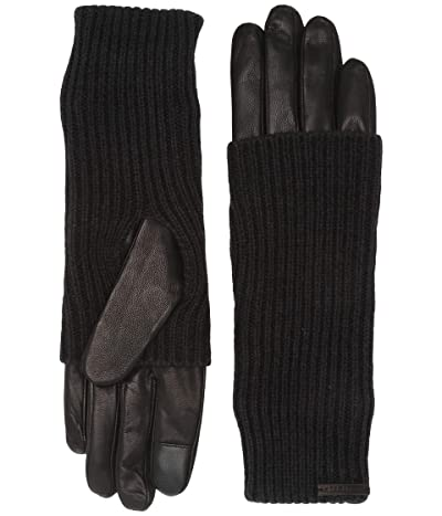 AllSaints Knit Cuff Leather Gloves (Black) Extreme Cold Weather Gloves
