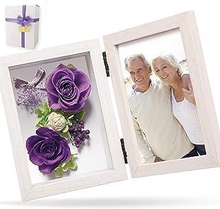 liLYS épice プリザーブドフラワー フォトフレーム ギフト 用 写真立て 誕生日 結婚祝い お祝い などに 日本製 ラベンダーパープル(ホワイトフレーム) pp2pr