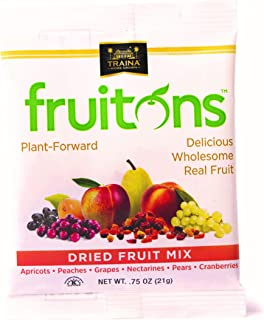 Traina Home Grown Fruitons Sun Dried Fruit Mix Apricots, Peaches, Grapes, Nectarines, Pears, Cranberries - Non GMO, Gluten Free, .75 oz bags (Pack of 18)