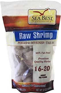 Sea Best 16/20 Count Peeled and Deveined Tail On Shrimp, 2 Pound