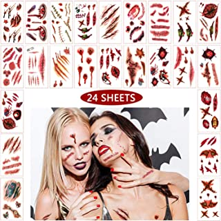 Yomiie 24 Sheets Halloween Temporary Scar Tattoos Sticker Realistic Fake Bloody Wound Scab Horror Body Face Decals for Prank Props Costume Makeup Masquerade Cosplay Zombies Party Supplies Decoration