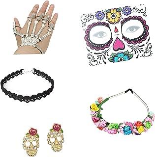 5 Piece Day of The Dead Catrina Accessory Set (Flower Headband, Face Tattoos, Skeleton Hand Bracelet, Skull Choker, Skull Rhinestone Earrings)